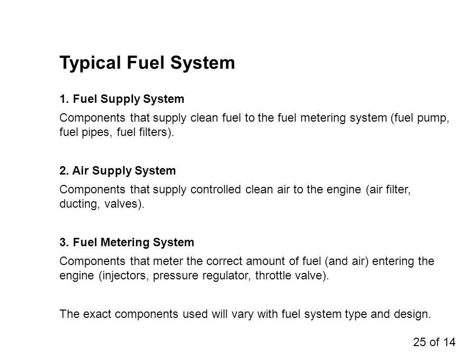 Typical Fuel System 1. Fuel Supply System