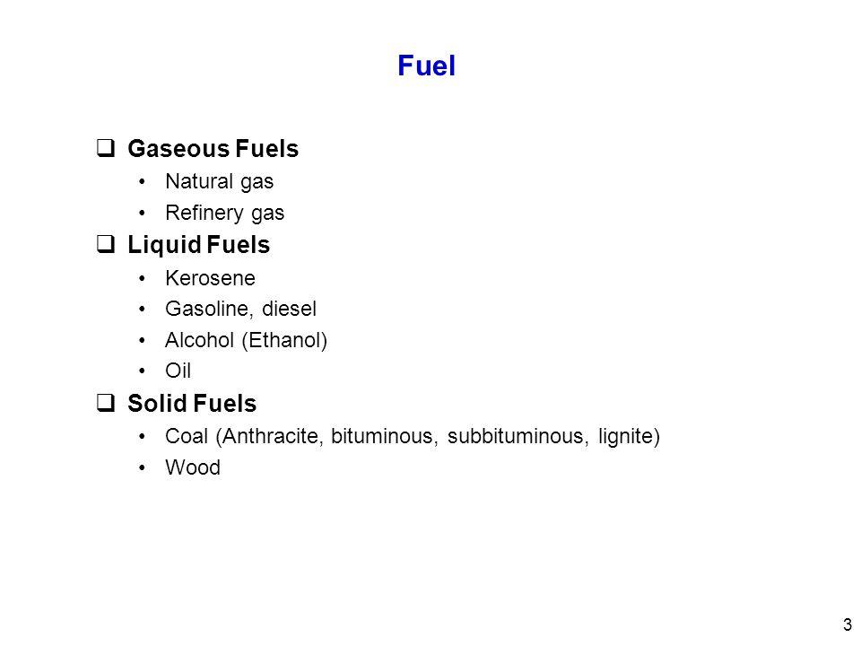 Fuel Gaseous Fuels Liquid Fuels Solid Fuels Natural gas Refinery gas