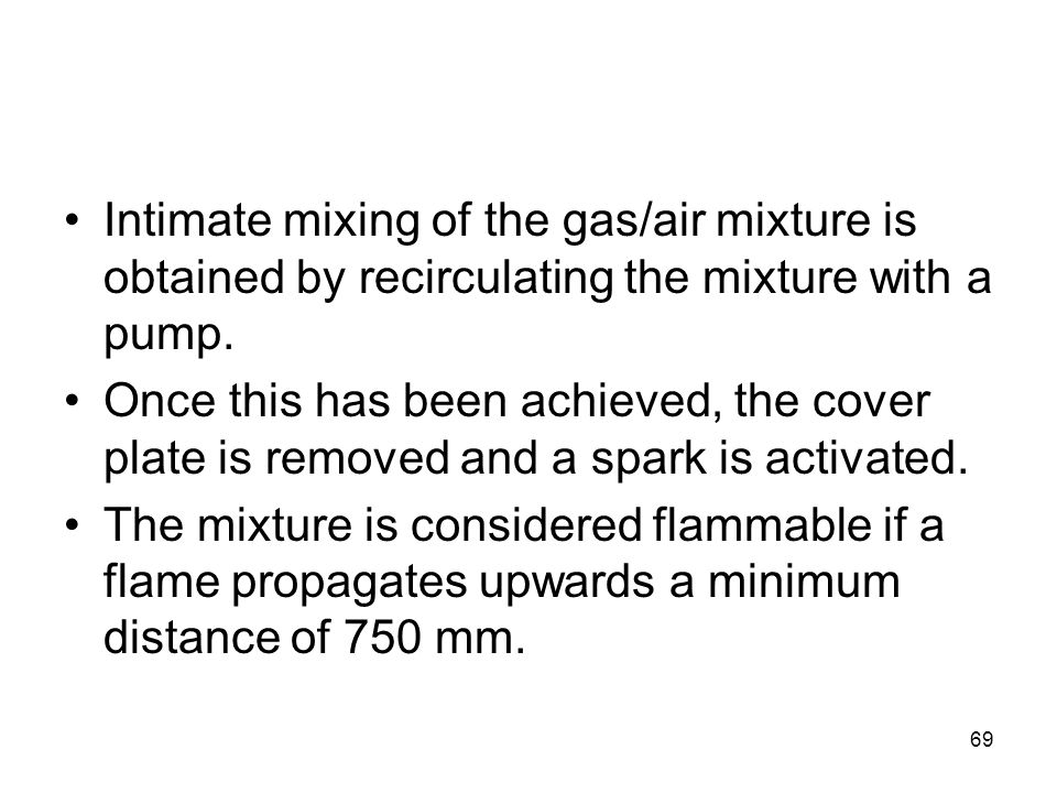 Intimate mixing of the gas/air mixture is obtained by recirculating the mixture with a pump.