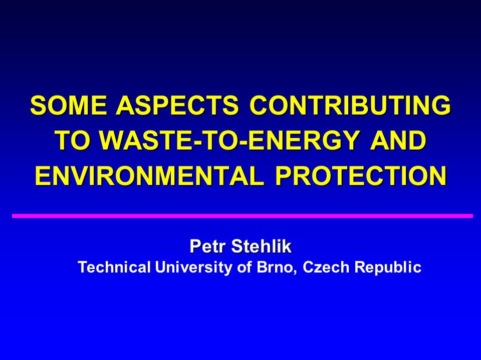 Petr Stehlik Technical University of Brno, Czech Republic