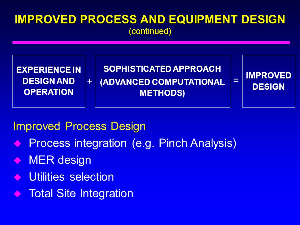 IMPROVED PROCESS AND EQUIPMENT DESIGN (continued)