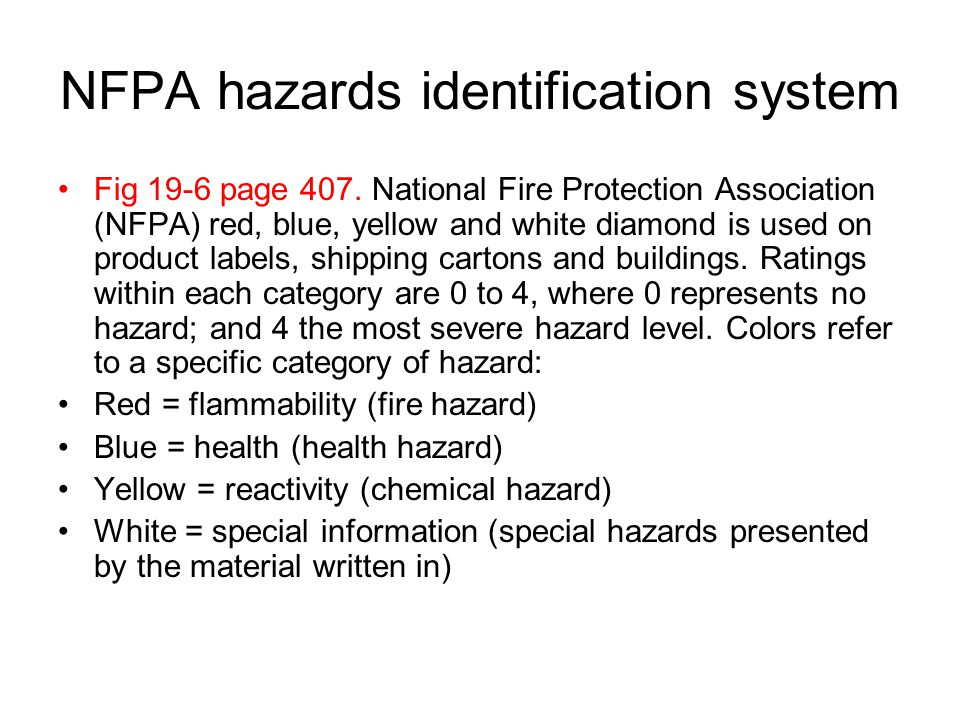 NFPA hazards identification system
