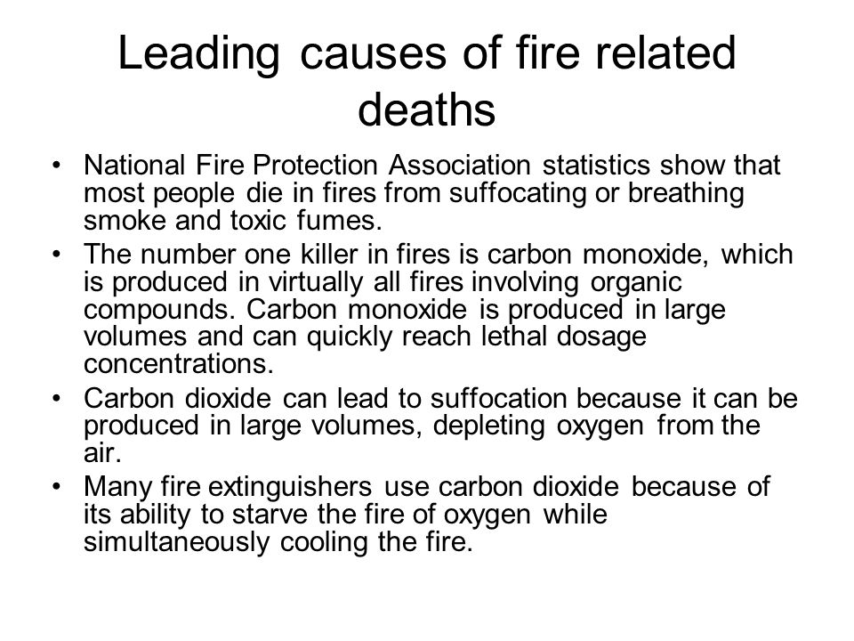 Leading causes of fire related deaths