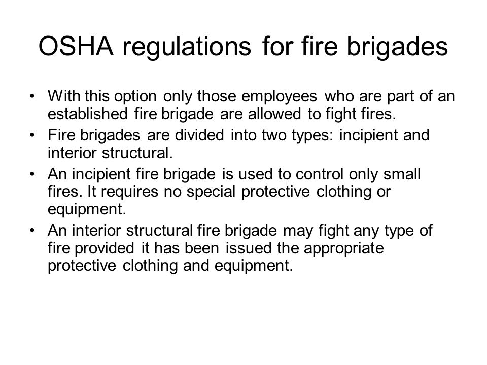 OSHA regulations for fire brigades