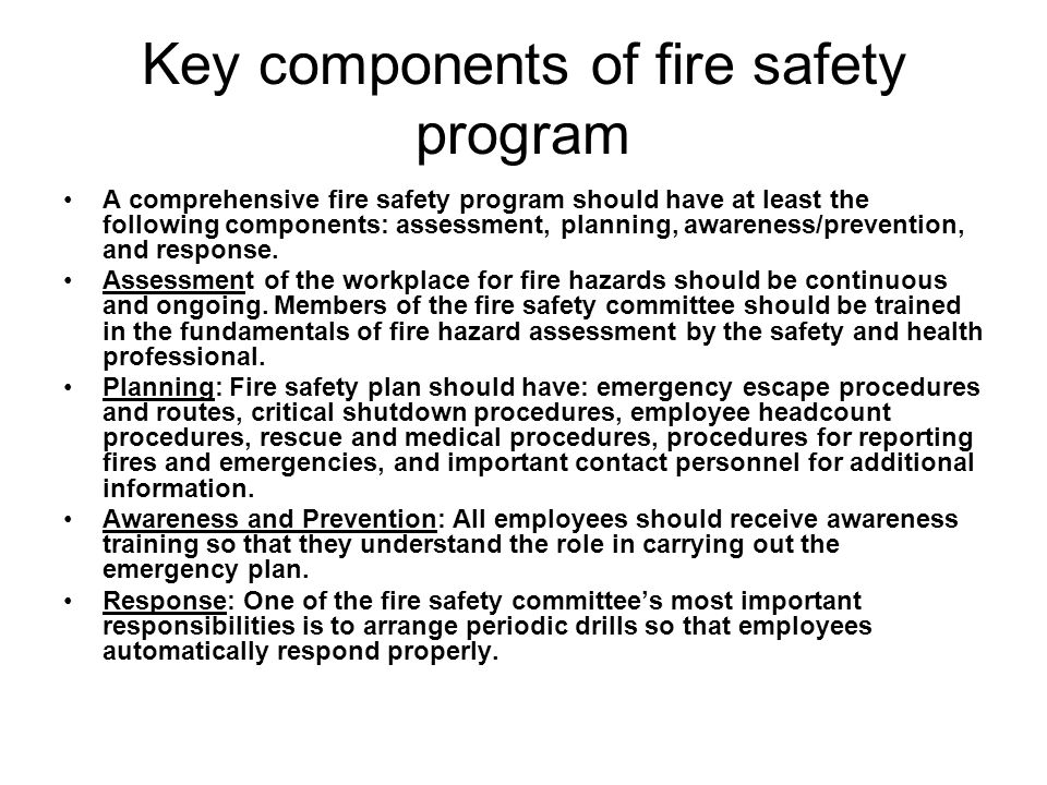 Key components of fire safety program