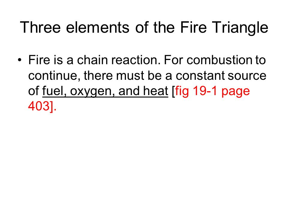 Three elements of the Fire Triangle