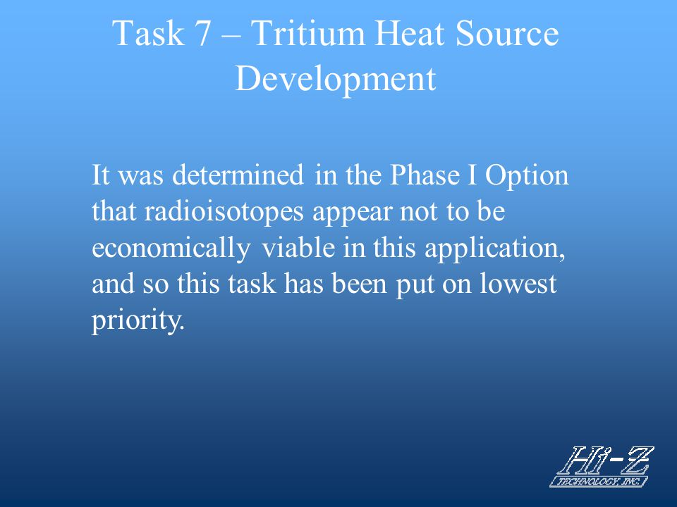Task 7 – Tritium Heat Source Development