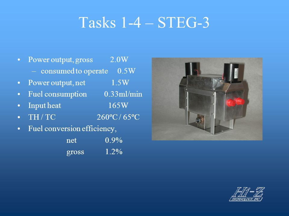 Tasks 1-4 – STEG-3 Power output, gross 2.0W consumed to operate 0.5W