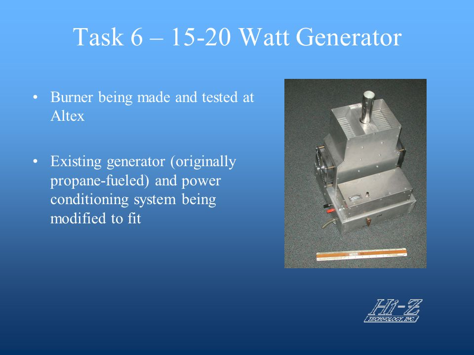 Task 6 – 15-20 Watt Generator Burner being made and tested at Altex