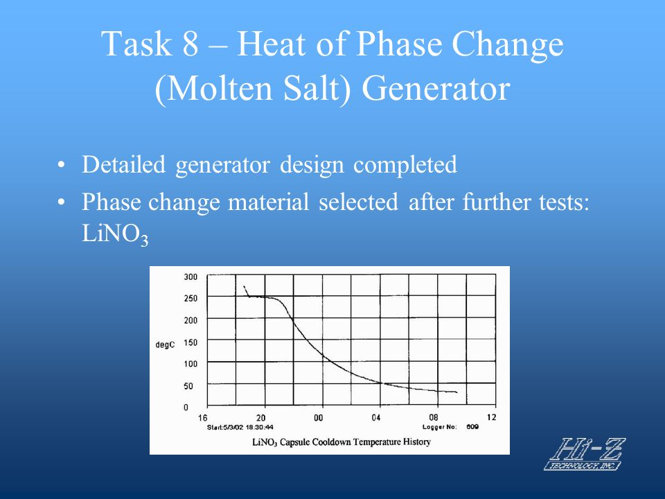 Task 8 – Heat of Phase Change (Molten Salt) Generator