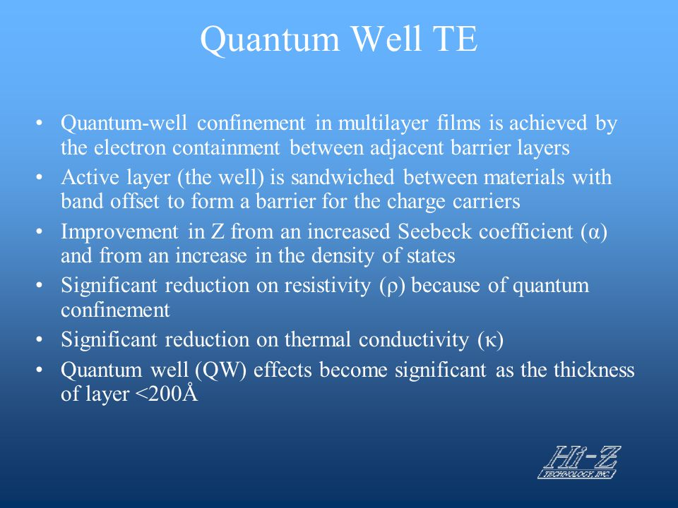 Quantum Well TE Quantum-well confinement in multilayer films is achieved by the electron containment between adjacent barrier layers.