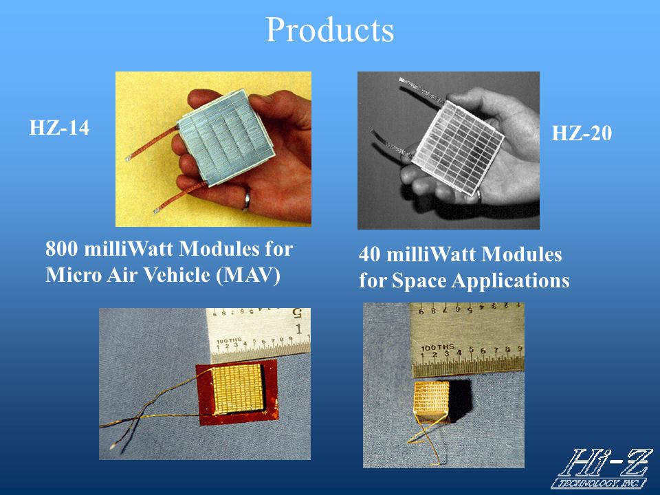 Products HZ-14 HZ-20 800 milliWatt Modules for Micro Air Vehicle (MAV)