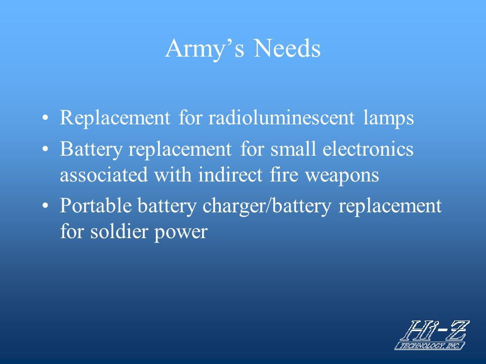 Army's Needs Replacement for radioluminescent lamps