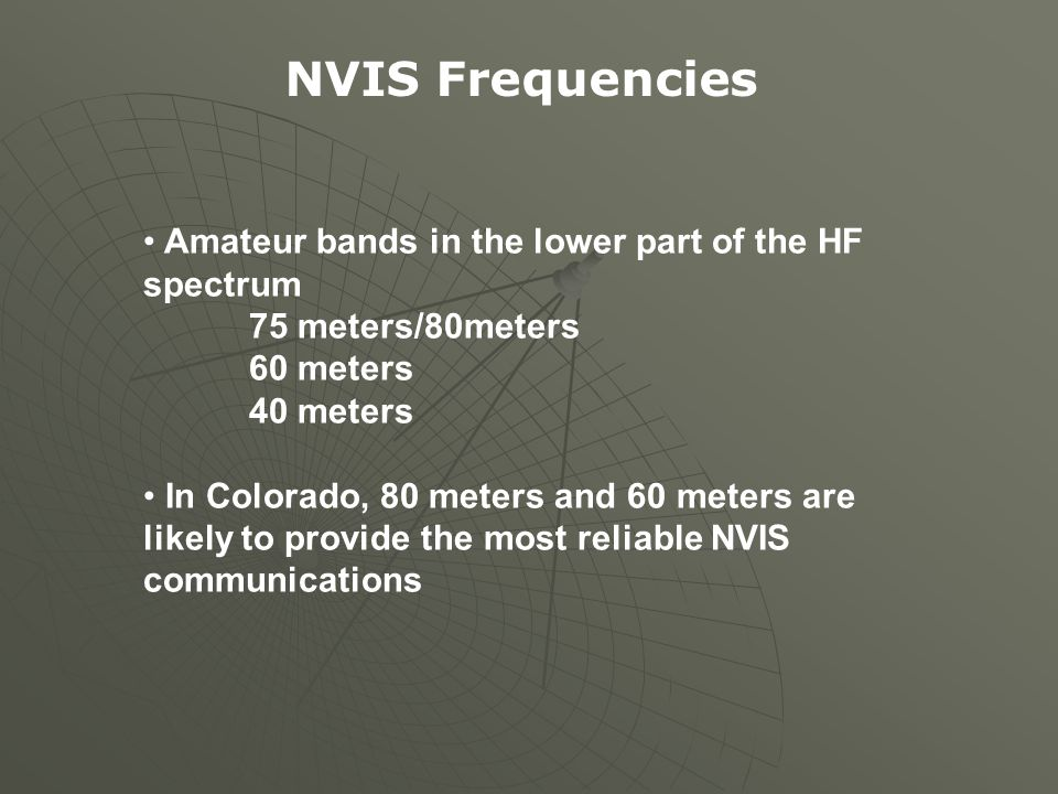NVIS Frequencies Amateur bands in the lower part of the HF spectrum