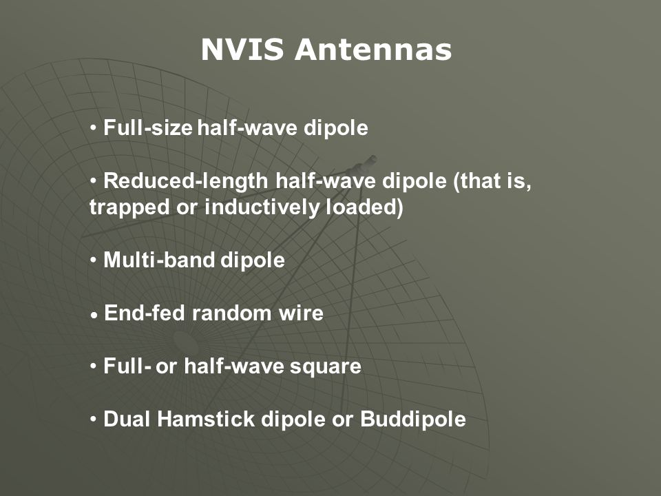 NVIS Antennas Full-size half-wave dipole