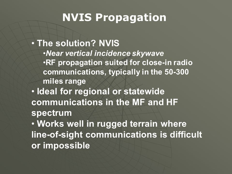 NVIS Propagation The solution NVIS
