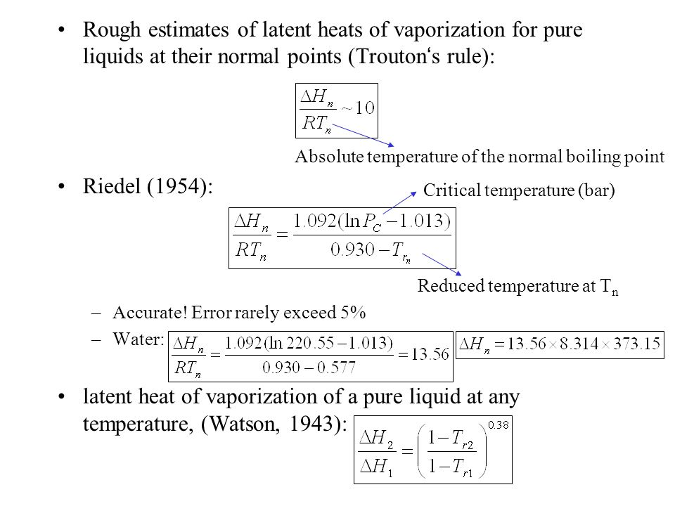 Rough estimates of latent heats of vaporization for pure liquids at their normal points (Trouton's rule):