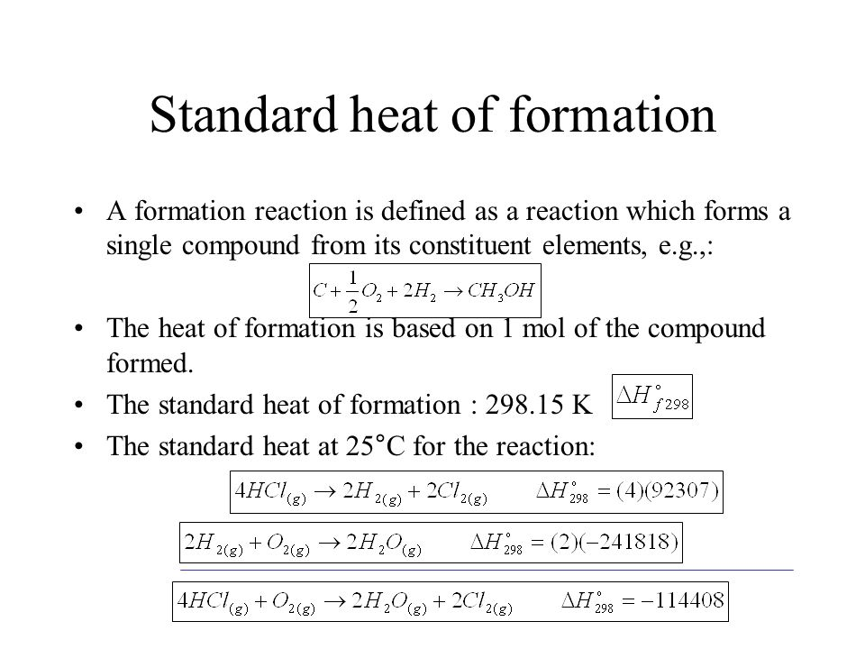 Standard heat of formation