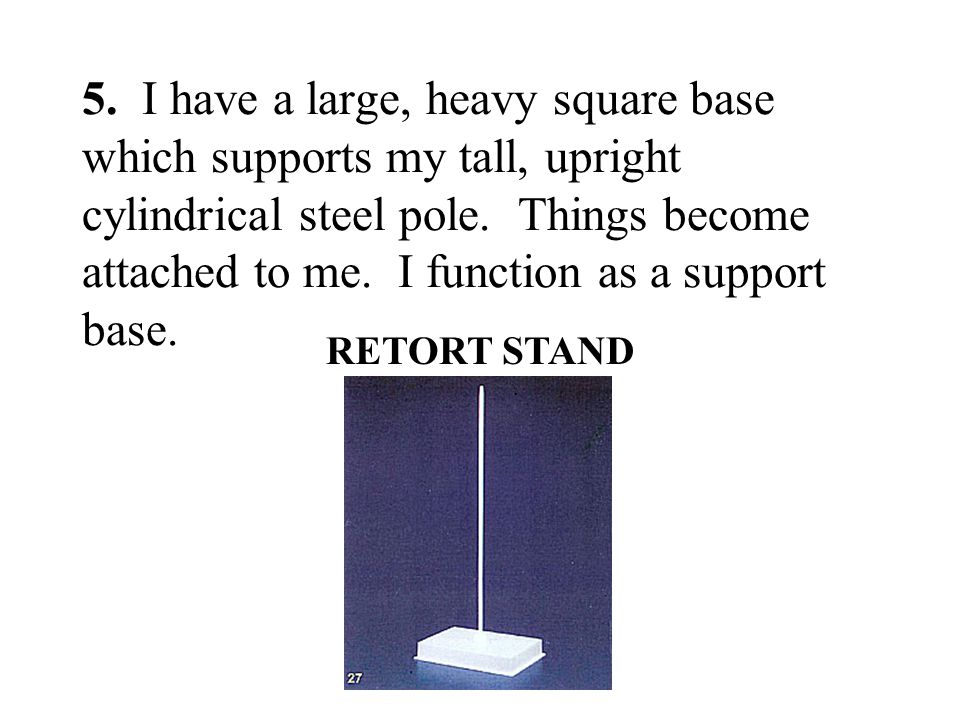 5. I have a large, heavy square base which supports my tall, upright cylindrical steel pole. Things become attached to me. I function as a support base.