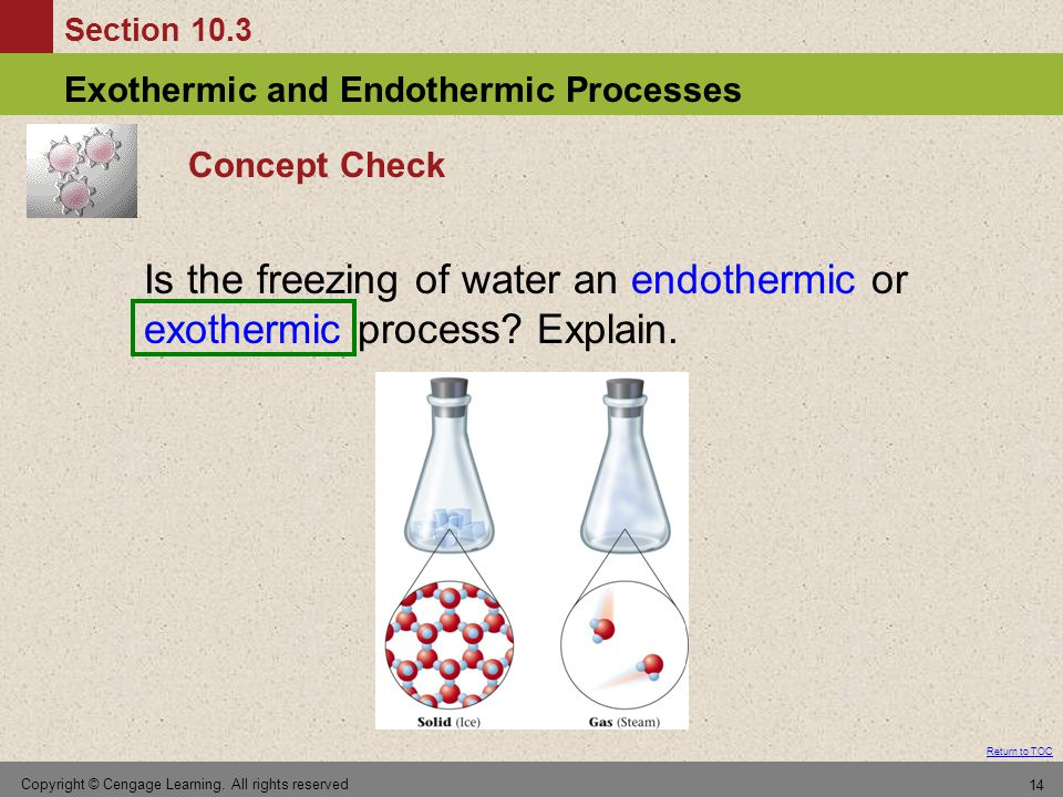 Concept Check Is the freezing of water an endothermic or exothermic process Explain.