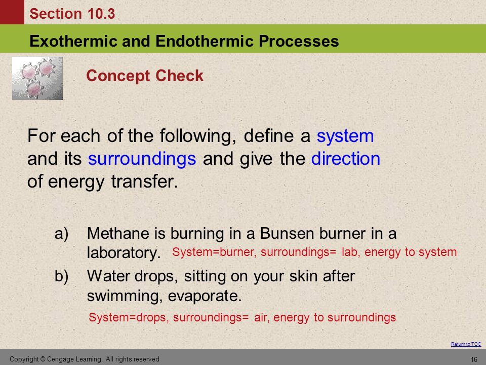 Concept Check For each of the following, define a system and its surroundings and give the direction of energy transfer.
