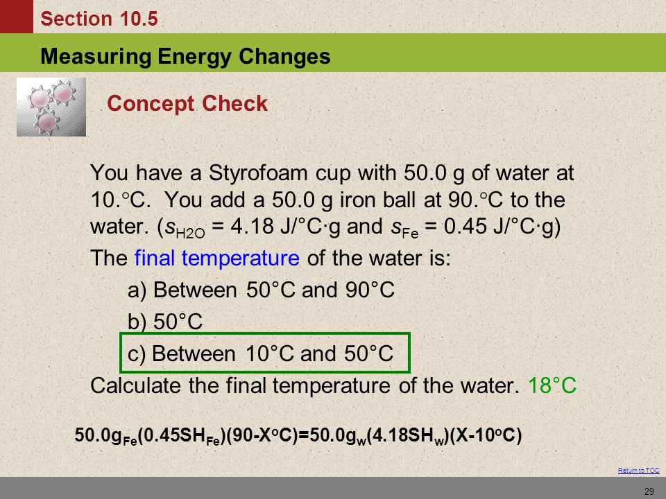 The final temperature of the water is: a) Between 50°C and 90°C