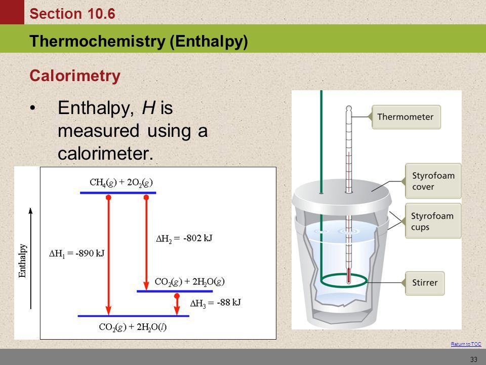 Enthalpy, H is measured using a calorimeter.