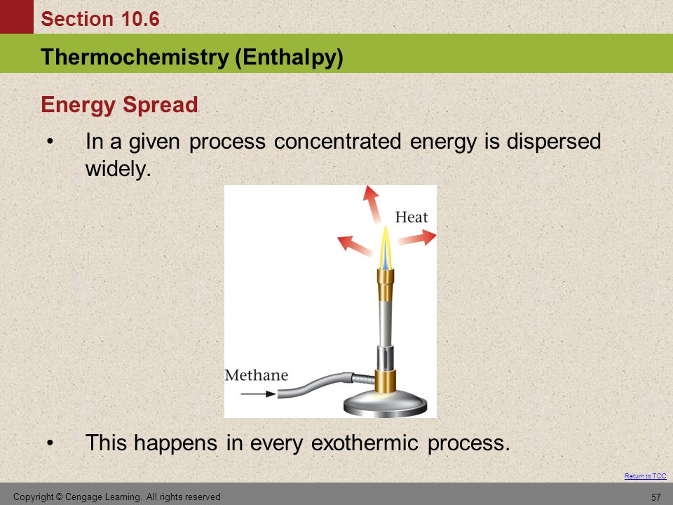 In a given process concentrated energy is dispersed widely.
