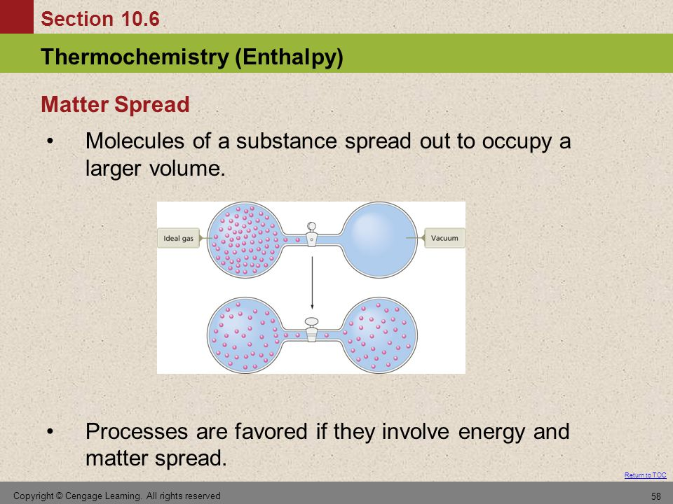 Molecules of a substance spread out to occupy a larger volume.