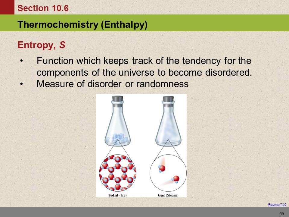 Entropy, S Function which keeps track of the tendency for the components of the universe to become disordered.