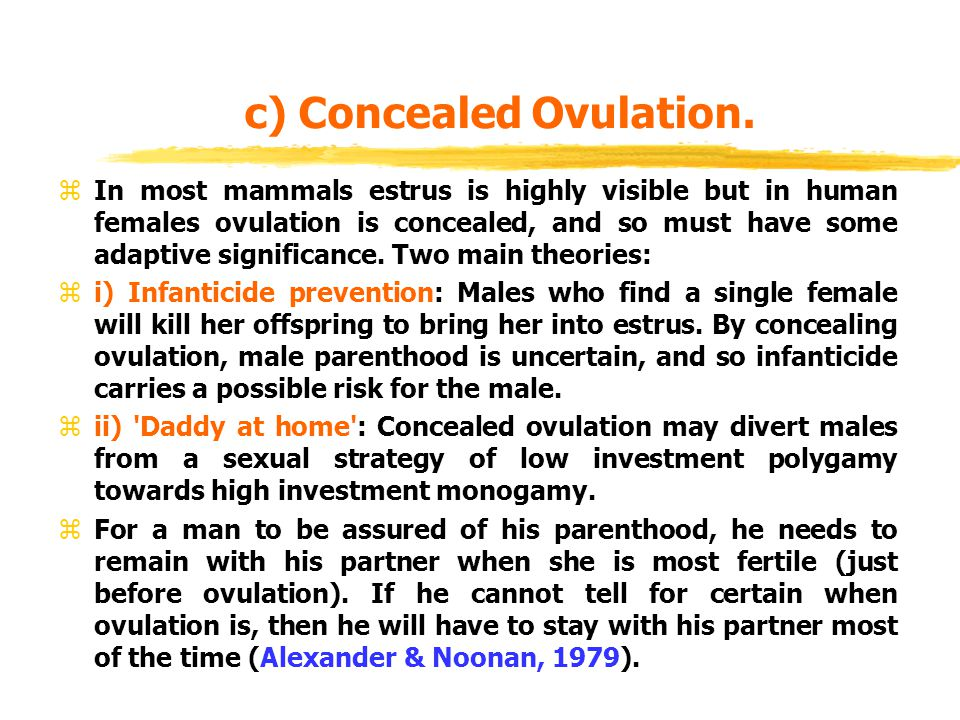 c) Concealed Ovulation.
