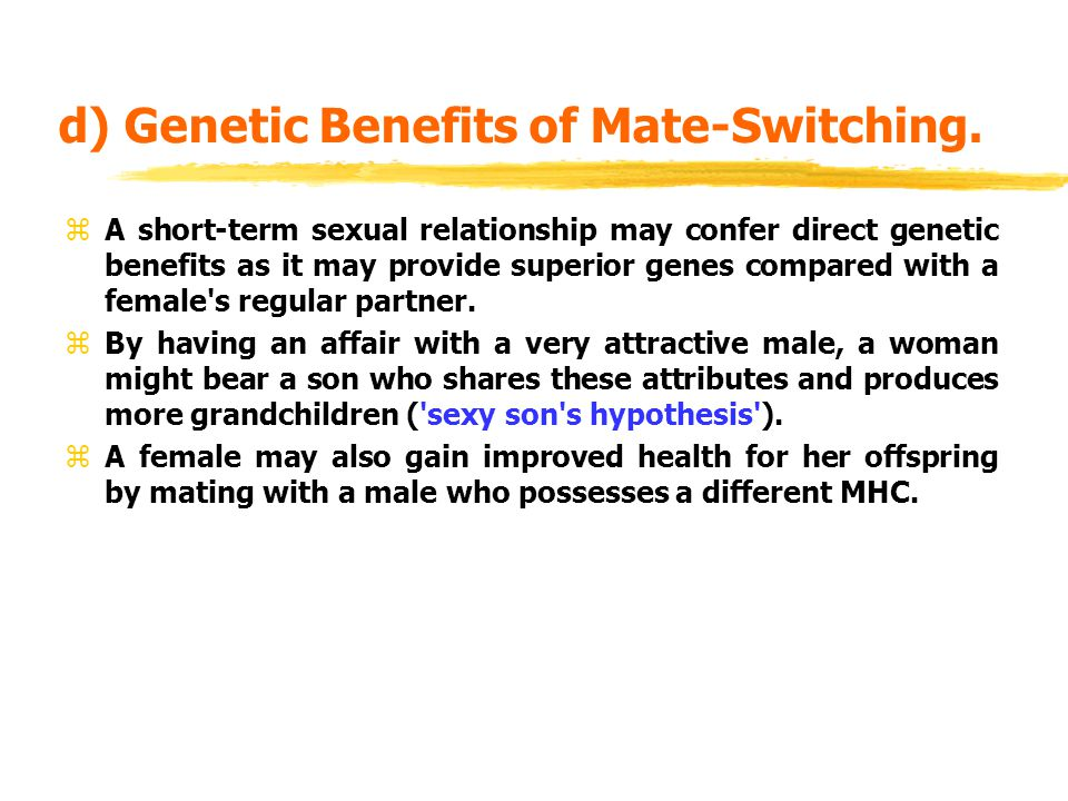 d) Genetic Benefits of Mate-Switching.