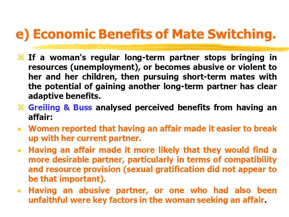 e) Economic Benefits of Mate Switching.