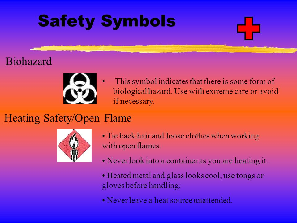 Safety Symbols Biohazard Heating Safety/Open Flame