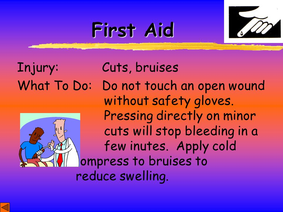 First Aid Injury: Cuts, bruises