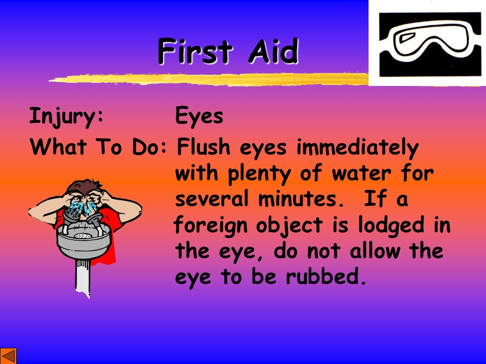 First Aid Injury: Eyes.