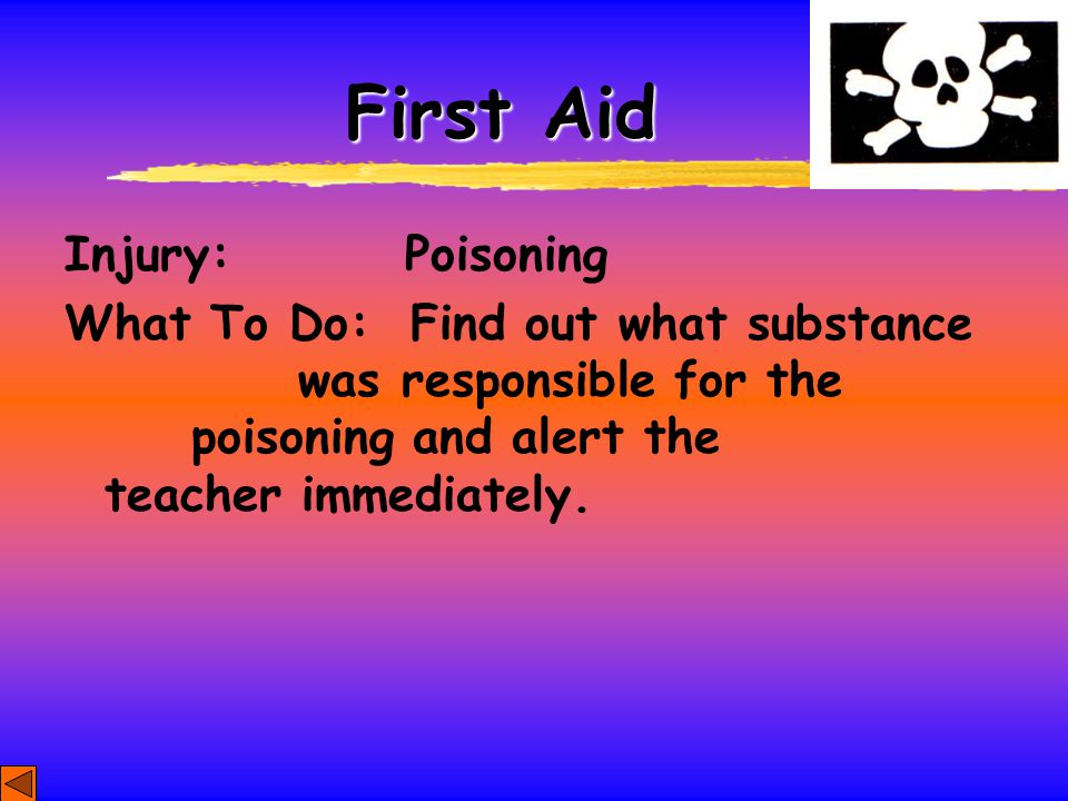 First Aid Injury: Poisoning