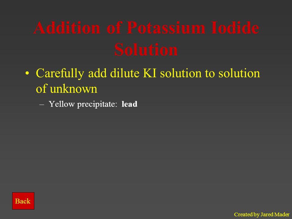 Addition of Potassium Iodide Solution