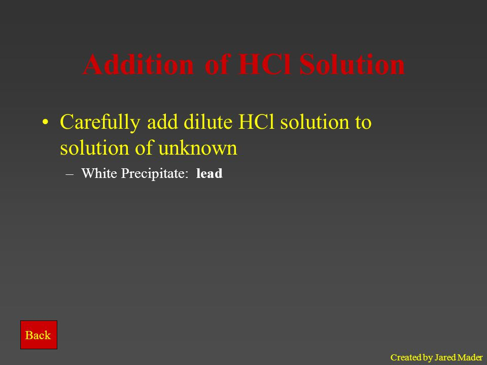 Addition of HCl Solution