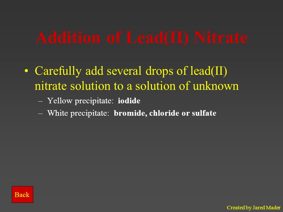Addition of Lead(II) Nitrate