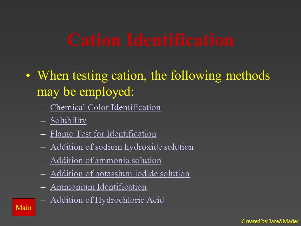 Cation Identification