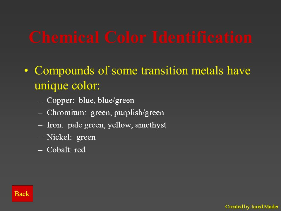 Chemical Color Identification