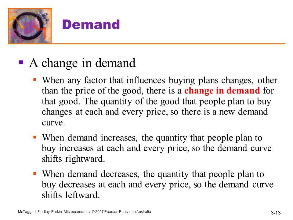 Demand A change in demand