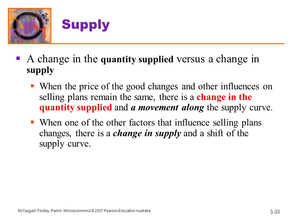 Supply A change in the quantity supplied versus a change in supply