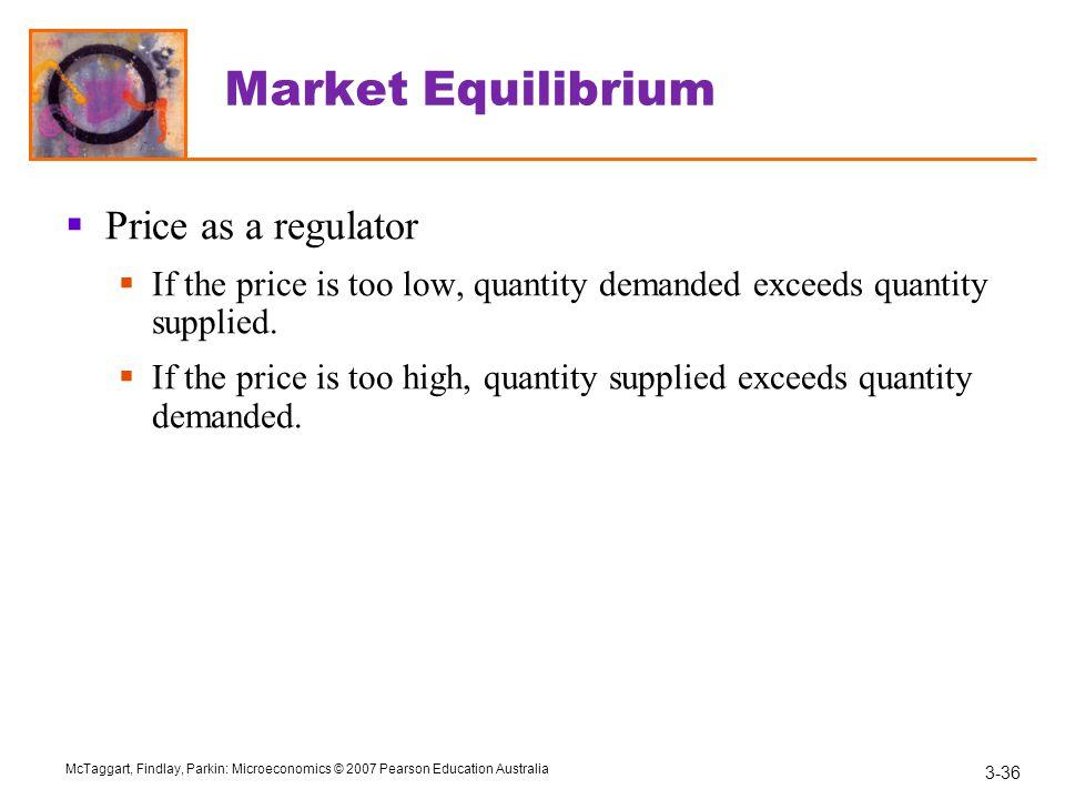 Market Equilibrium Price as a regulator