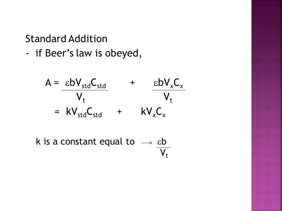 Standard Addition - if Beer's law is obeyed, A = bVstdCstd + bVxCx Vt Vt = kVstdCstd + kVxCx