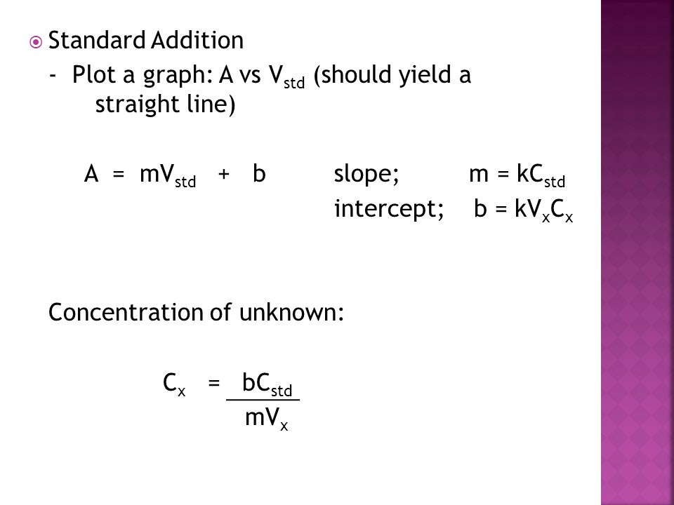 Standard Addition - Plot a graph: A vs Vstd (should yield a straight line) A = mVstd + b slope; m = kCstd.