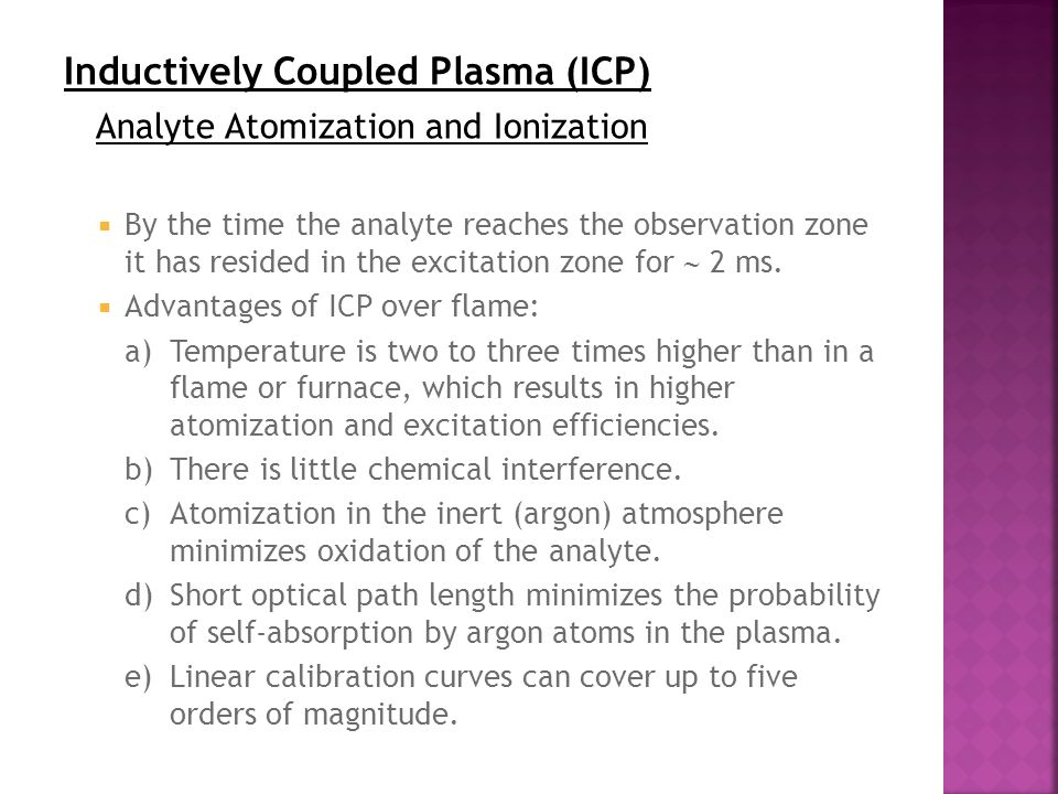 Inductively Coupled Plasma (ICP) Analyte Atomization and Ionization