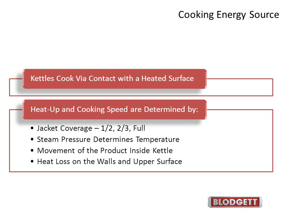 Cooking Energy Source Kettles Cook Via Contact with a Heated Surface