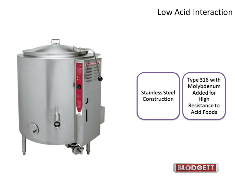 Low Acid Interaction Stainless Steel Construction.